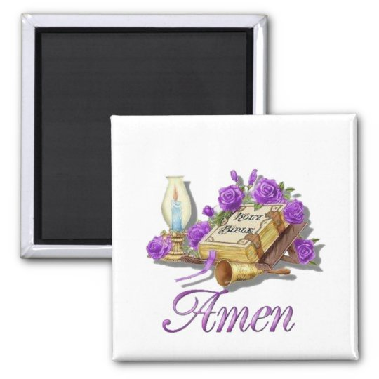 Holy Bible Amen Square Magnet