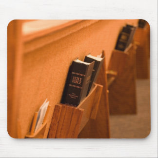 Holy Bible in a pew Mouse Pad
