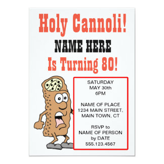 Holy Cannoli Turning 80 Party Invitation