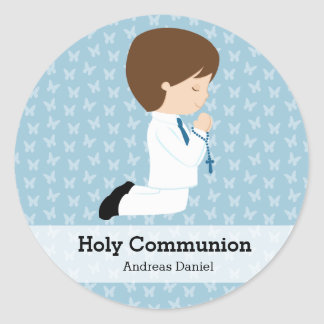 Holy Communion boy * Choose your background color Round Sticker