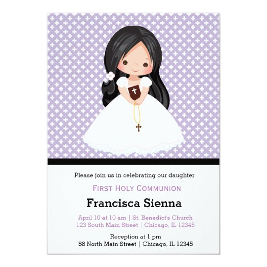 Holy Communion girl * choose background colour Card