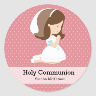 Holy Communion Girl * Choose your background color Round Sticker