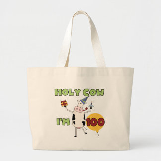 Holy Cow 100th Birthday Tshirts and Gifts Large Tote Bag