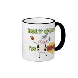 Holy Cow 100th Birthday Tshirts and Gifts Ringer Mug