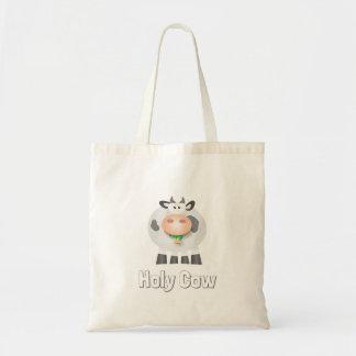 Holy Cow Eating Grass Funny Farm Animal Cartoon Tote Bag