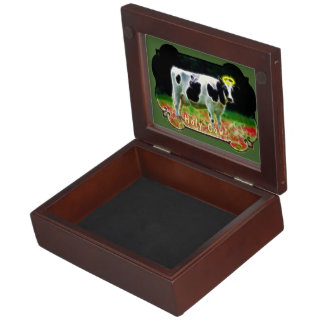 Holy Cow Halo Holstein Cattle Humor Keepsake Box