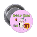 Holy Cow I'm 21 Birthday Tshirts and Gifts 6 Cm Round Badge