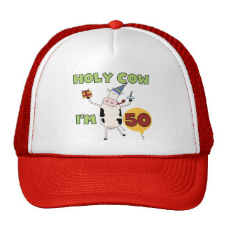 Holy Cow I'm 50 Birthday Tshirts and Gifts Mesh Hat