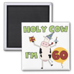 Holy Cow I'm 60 Birthday T-shirts and Gifts Square Magnet