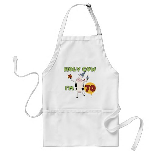 Holy Cow I'm 70 Birthday Tshirts and Gifts Apron