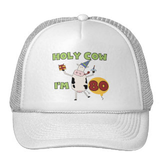 Holy Cow I'm 80 Birthday T-shirts and Gifts Hats