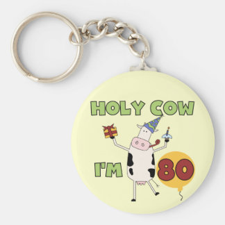 Holy Cow I'm 80 Birthday T-shirts and Gifts Key Chain