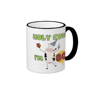 Holy Cow I'm 80 Birthday T-shirts and Gifts Ringer Coffee Mug