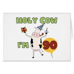 Holy Cow I'm 90 Birthday Tshirts and Gifts Greeting Card