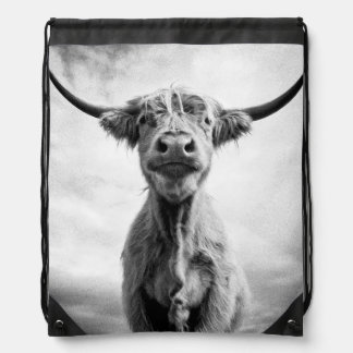Holy Cow Mesotint Style Art Photography Drawstring Bag