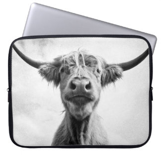 Holy Cow Mesotint Style Art Photography Laptop Sleeve
