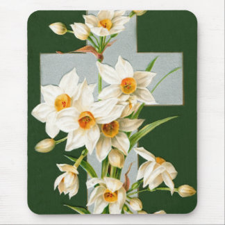 Holy cross and flowers mouse pad