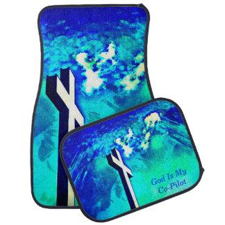 Holy Cross Sapphire Blue N Aqua/Co-Pilot Car Mats Floor Mat