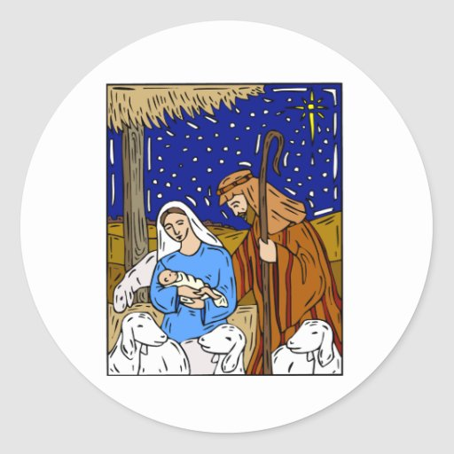 Holy Family Christmas Eve Round Stickers