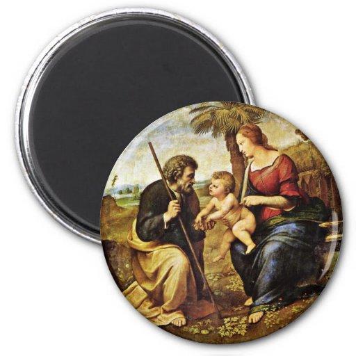 Holy Family Under A Palm Tree Tondo By Raffael Fridge Magnet