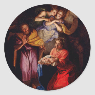 Holy Family with Angels by Coypel Round Sticker