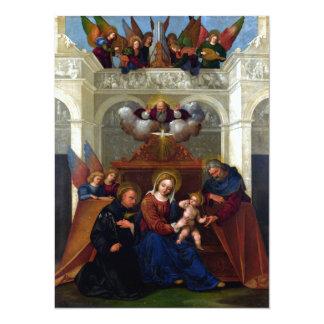 Holy Family with Saint Nicholas of Tolentino 14 Cm X 19 Cm Invitation Card