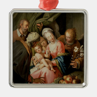 Holy Family with St. Anne Silver-Colored Square Decoration