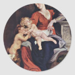 Holy Family With The Basket By Rubens Peter Paul Round Sticker