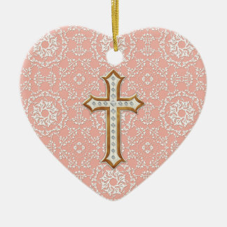Holy First Communion Gold Golden Cross Lace Girl Christmas Ornament