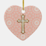 Holy First Communion Gold Golden Cross Lace Girl Ceramic Heart Decoration