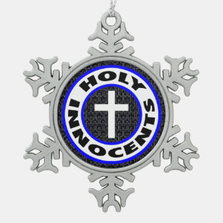 Holy Innocents Snowflake Pewter Christmas Ornament