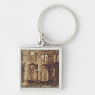 Holy Island Cathedral, engraved by Charles Turner Silver-Colored Square Key Ring