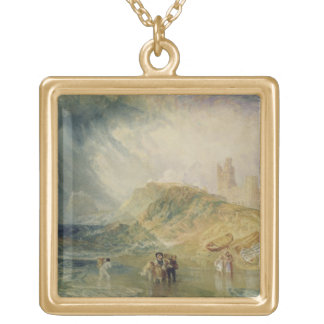 Holy Island, Northumberland, c.1820 (oil on canvas Gold Plated Necklace