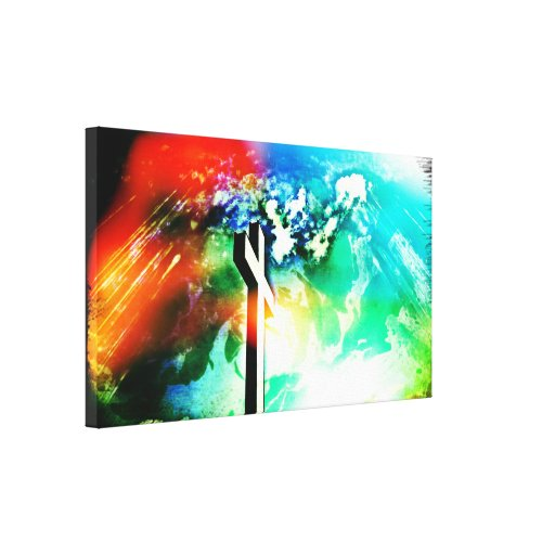 Holy Land Cross Lights Wrapped Canvas Stretched Canvas Print