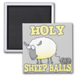 holy sheep balls funny unraveling yarn sheep square magnet