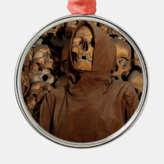 Holy Skull in a Capuchin Ossuary Silver-Colored Round Decoration