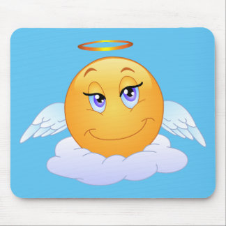 Holy smiley on the cloud mouse pad