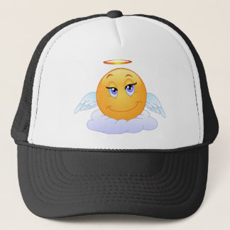 Holy smiley on the cloud trucker hat