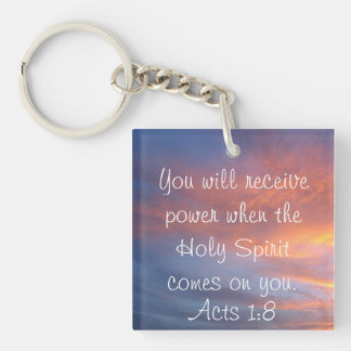 Holy Spirit bible verse Acts 1:8 Single-Sided Square Acrylic Key Ring