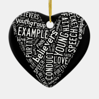Holy Spirit Gear - White heart with black text Ornaments