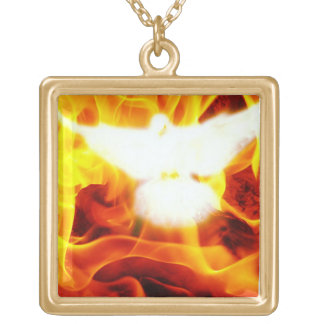Holy Spirit Square Pendant Necklace