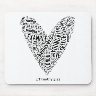 Holy Spirit Wear - Black text on white heart Mouse Pad