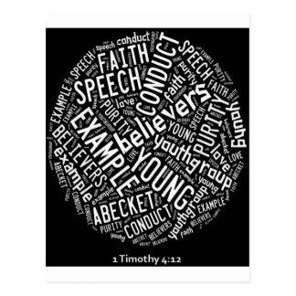 Holy Spirit Wear -Youth Gp. Black circle/white txt Postcard