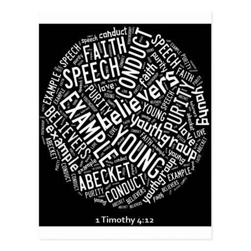 Holy Spirit Wear -Youth Gp. Black circle/white txt Post Card