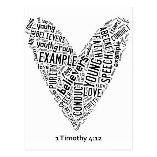 Holy Spirit Wear - Youth Gp. White heart/black txt Postcard