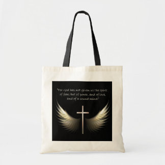 Holy Spirit Wings with Cross and Scripture Verse Budget Tote Bag