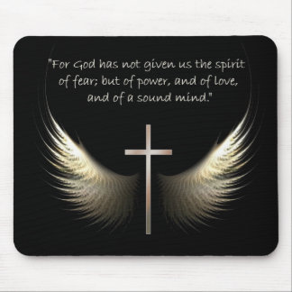 Holy Spirit Wings with Cross and Scripture Verse Mouse Pad