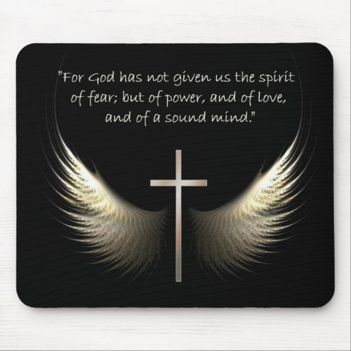 Holy Spirit Wings with Cross and Scripture Verse Mousepad