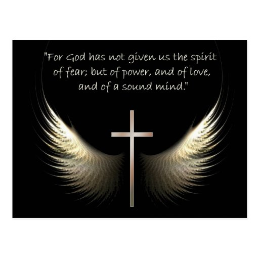 Holy Spirit Wings with Cross and Scripture Verse Postcard