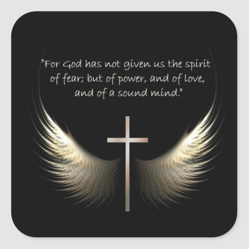 Holy Spirit Wings with Cross and Scripture Verse Sticker